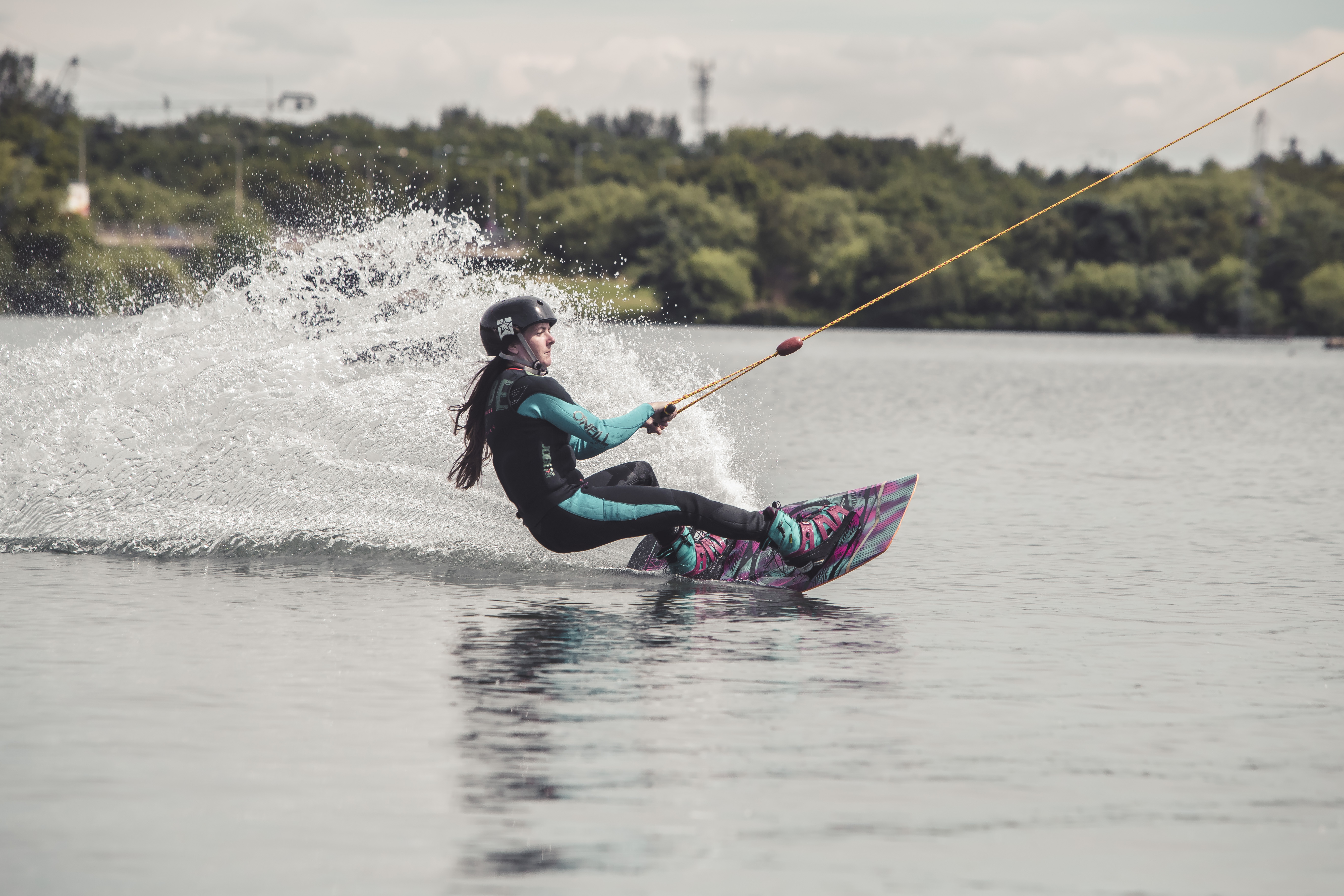 Someone Wakeboarding at Willen Lake